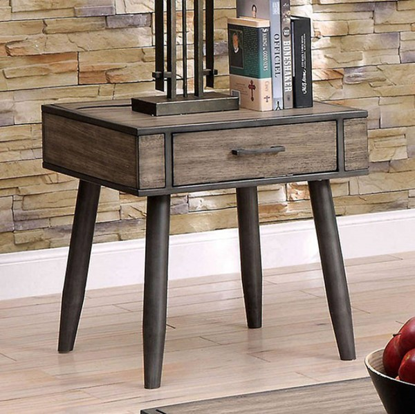 Homeroots Gray Solid Wood End Table OCN-307616