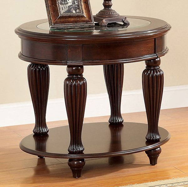 Homeroots Traditional Dark Cherry Solid Wood Glass Top End Table OCN-307617
