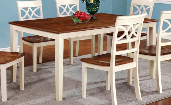 Homeroots Off White Cherry Wood Dining Table OCN-307678