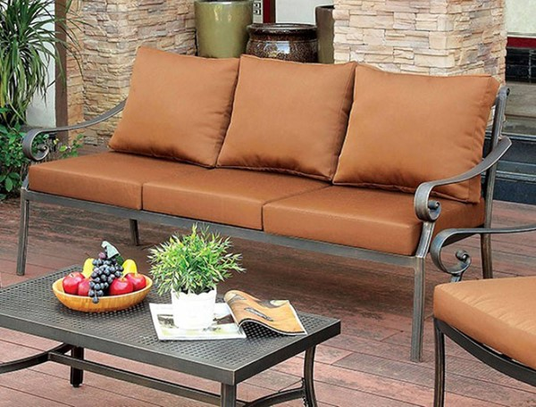 Homeroots Brown Fabric Cushion Patio Sofa OCN-307679