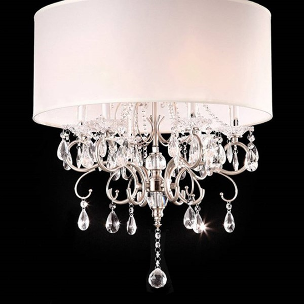 HomeRoots White Crystal Chrome Metal Traditional Ceiling Lamp OCN-307689