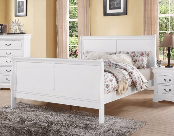 HomeRoots Transitional White Solid Pine Wood Sleigh Beds OCN-307701-BED-VAR