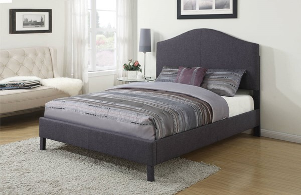 HomeRoots Grey Linen Queen Padded Bed OCN-307707