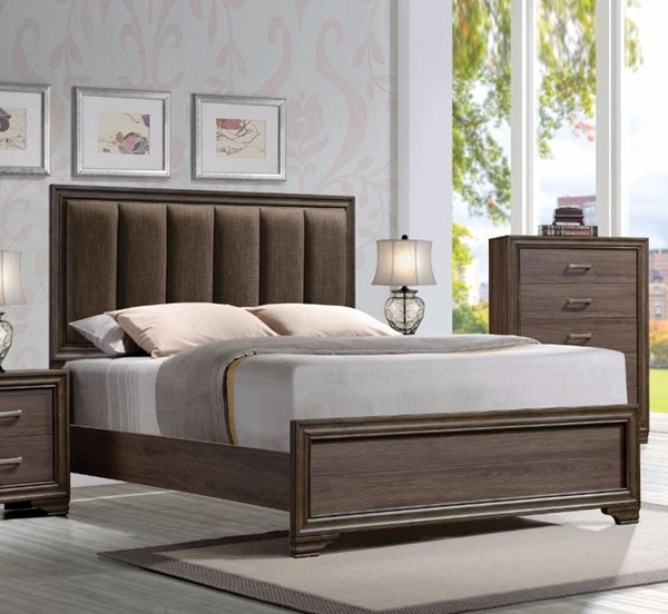 HomeRoots Brown Fabric Solid Wood Queen Panel Padded Bed OCN-307730