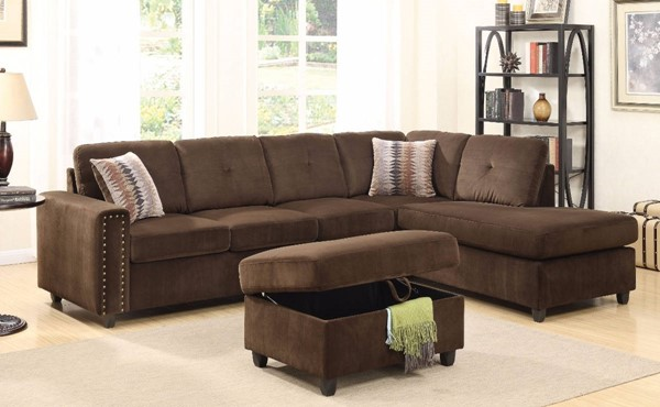 Homeroots Chocolate Brown Fabric Sectional with Ottoman OCN-307746