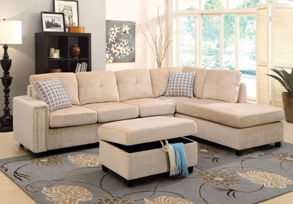 Homeroots Beige Fabric Sectional with Ottoman OCN-307747