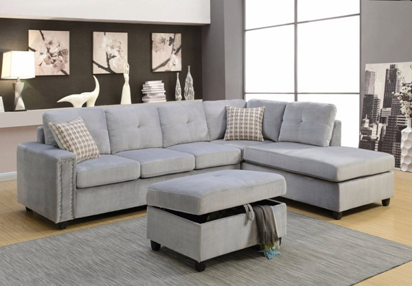 Homeroots Gray Fabric Sectional with Ottoman OCN-307748