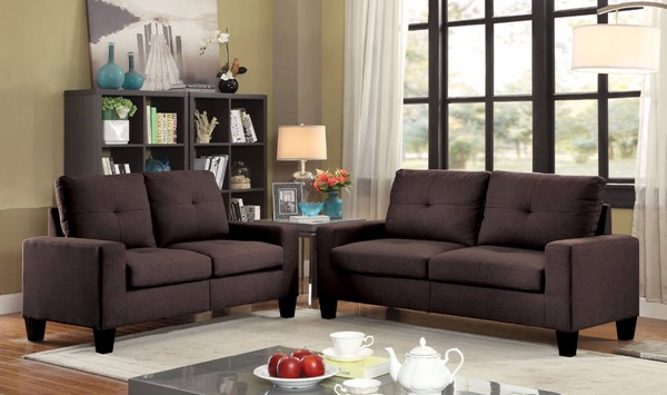 HomeRoots Chocolate Brown Fabric Fashionable 2pc Sofa and Loveseat Set OCN-307749