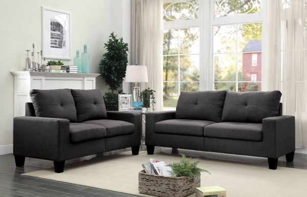 HomeRoots Gray Fabric Fashionable 2pc Sofa and Loveseat Set OCN-307750
