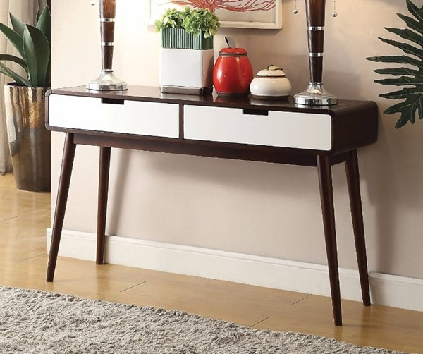 Homeroots Brown White Wood 2 Drawers Sofa Table OCN-307756