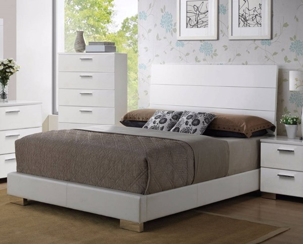 HomeRoots White Wood Queen Padded Bed OCN-307759