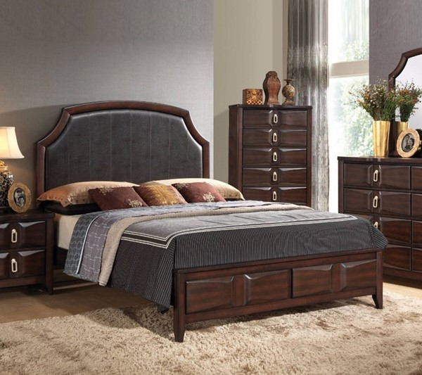 HomeRoots Brown Grey Rubberwood Queen Panel Bed OCN-307766