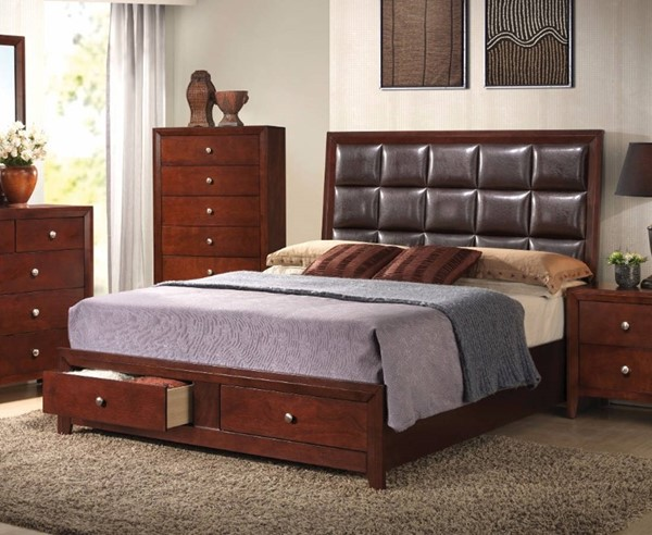 HomeRoots Brown Upholstered Queen Storage Bed OCN-307767