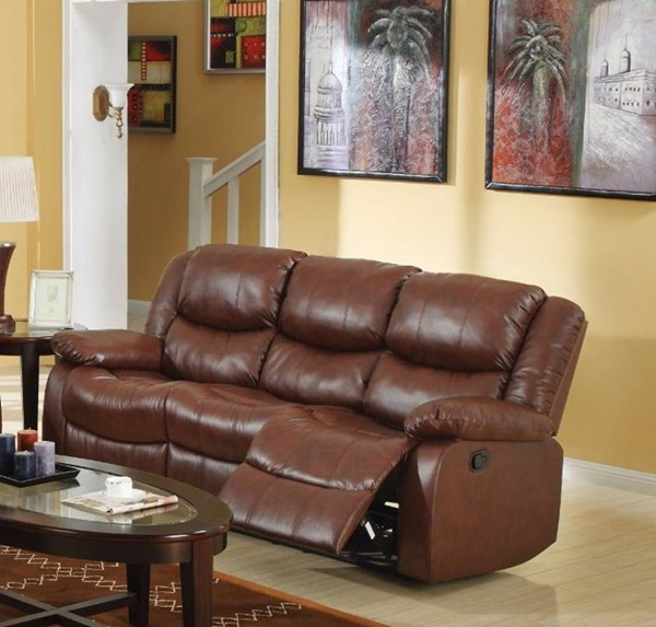 HomeRoots Brown Bonded Leather Sofa OCN-307776