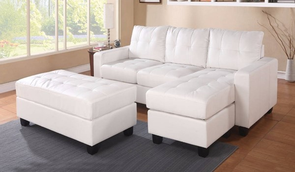 Homeroots White Bonded Leather Sectionals with Ottomans OCN-307787-SEC-VAR