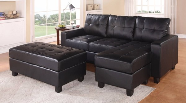 Homeroots Black Bonded Leather Sectional with Ottoman OCN-307788