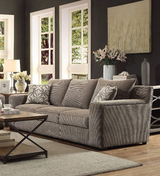 HomeRoots Gray Feather Vogue Sofa with 2 Pillows OCN-307800