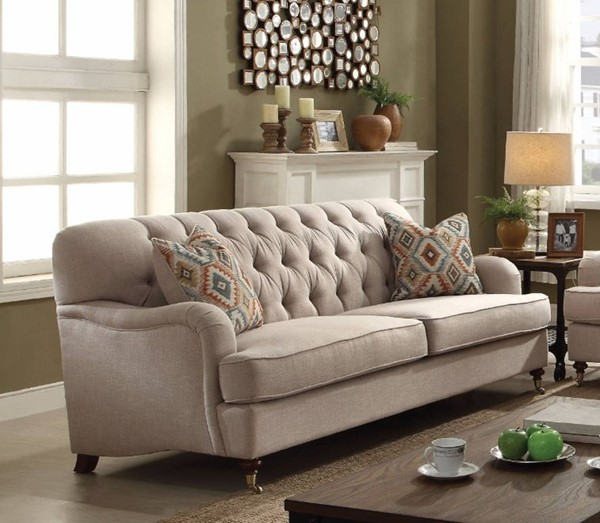 Homeroots Beige Fabric Sofa with 2 Pillows OCN-307809