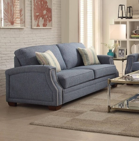 HomeRoots Light Blue Fabric Spruce Sofa with 2 Pillows OCN-307810