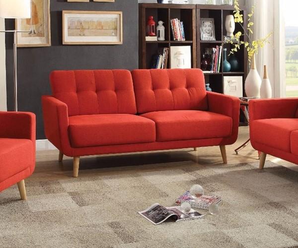 HomeRoots Red Linen Fabric Pine Wood Suave Sofa OCN-307812