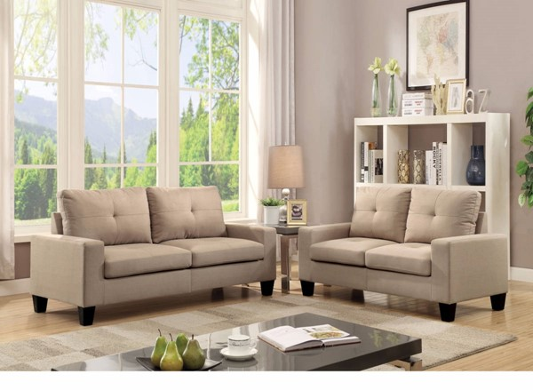 HomeRoots Beige Fabric Fashionable 2pc Sofa and Loveseat Set OCN-307813