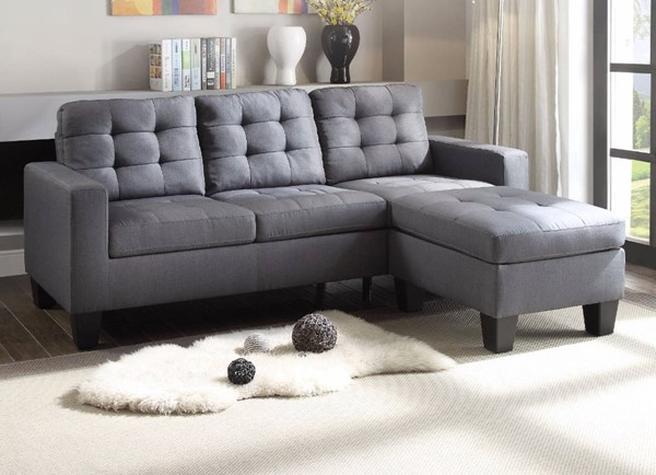 Homeroots Gray Linen Refined Sectional OCN-307816
