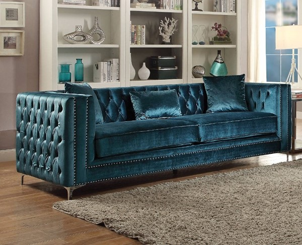 HomeRoots Teal Blue Velvet Imperial Sofa with 3 Pillows OCN-307818