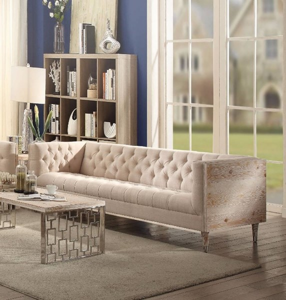 HomeRoots Beige Fabric Smart Looking Sofa OCN-307820