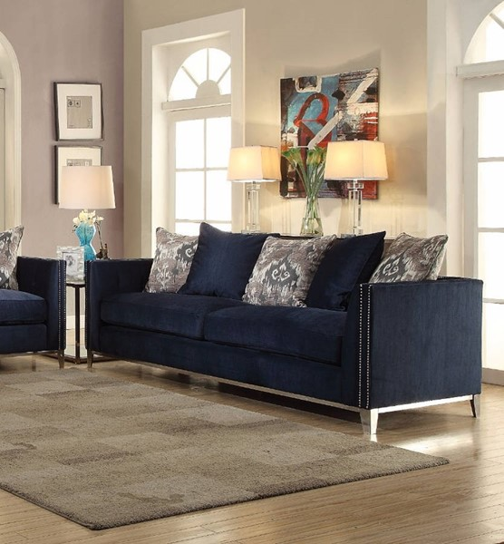 HomeRoots Blue Feather Metal Majestic Sofa with 5 Pillows OCN-307822