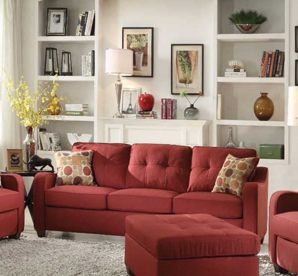 HomeRoots Red Fabric Solid Wood Smart Looking Sofa with 2 Pillows OCN-307828