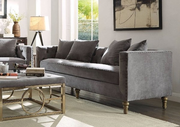 Homeroots Gray Velvet Sofa with 4 Pillows OCN-307831