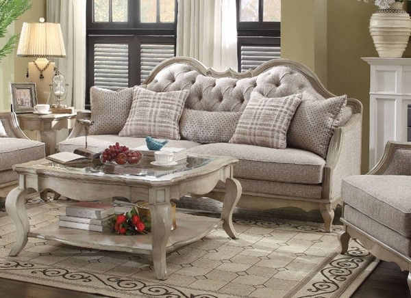 HomeRoots Beige Fabric Wood Majestic Sofa with 5 Pillows OCN-307855