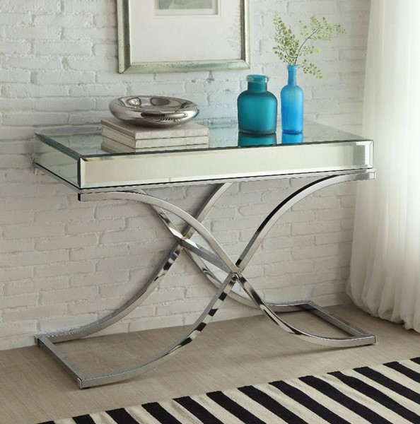 Homeroots Silver Chrome Mirrored Top Sofa Table OCN-307861