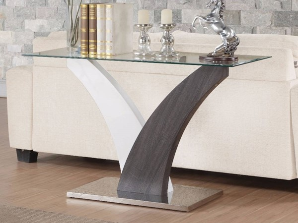 Homeroots White Walnut Brown Wood Clear Glass Top Sofa Table OCN-307884