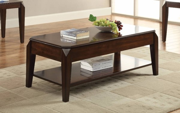 Homeroots Walnut Brown Wood Coffee Table with Lift Top OCN-307898