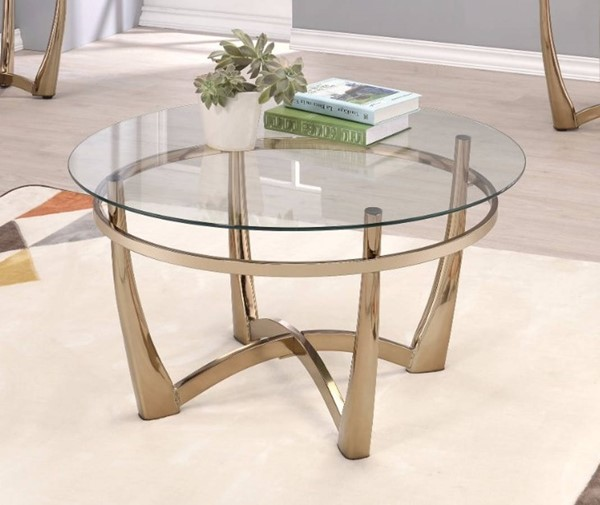 Homeroots Clear Glass Gold Metal Coffee Table OCN-307908