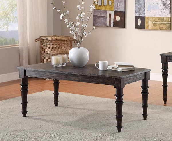 Homeroots Antique Black Wood Rectangle Coffee Table OCN-307909
