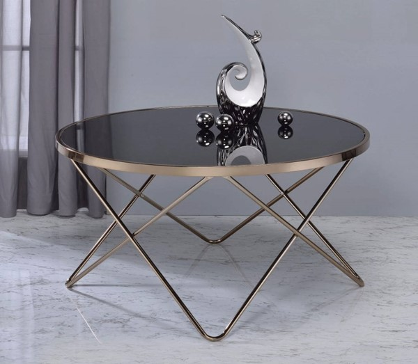 Homeroots Black Glass Gold Metal Alluring Coffee Table OCN-307915