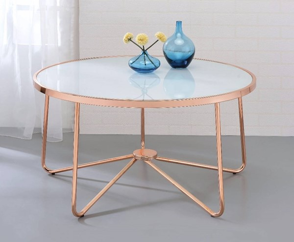 Homeroots Frosted Glass Rose Gold Metal Coffee Table OCN-307916