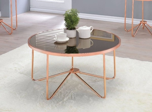 Homeroots Smoky Glass Rose Gold Metal Coffee Table OCN-307917