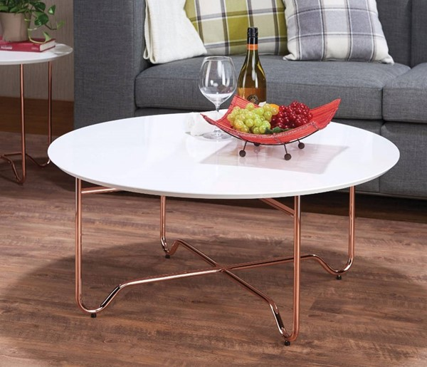 Homeroots White MDF Copper Metal Coffee Table OCN-307918