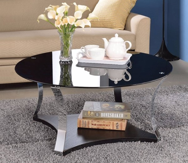 Homeroots Black Glass Chrome Metal Coffee Table OCN-307921
