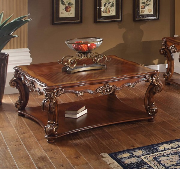 Homeroots Cherry Wood Square Coffee Table OCN-307925