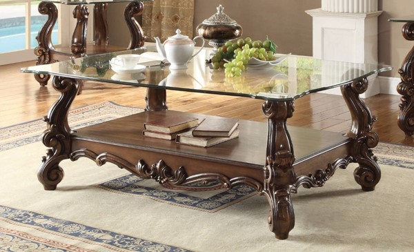 Homeroots Brown Aspen Wood Clear Glass Top Coffee Tables OCN-307926-CT-VAR