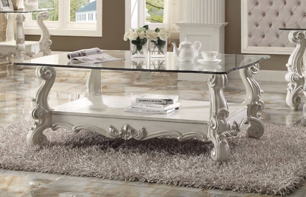 Homeroots Bone White Aspen Wood Clear Glass Top Coffee Table OCN-307927
