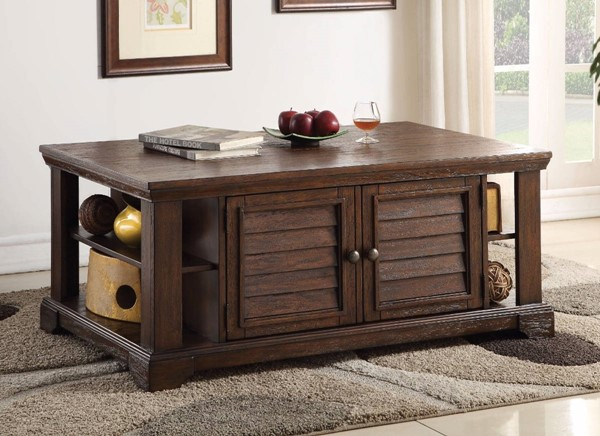 Homeroots Dark Oak Brown Rubberwood Coffee Table OCN-307938
