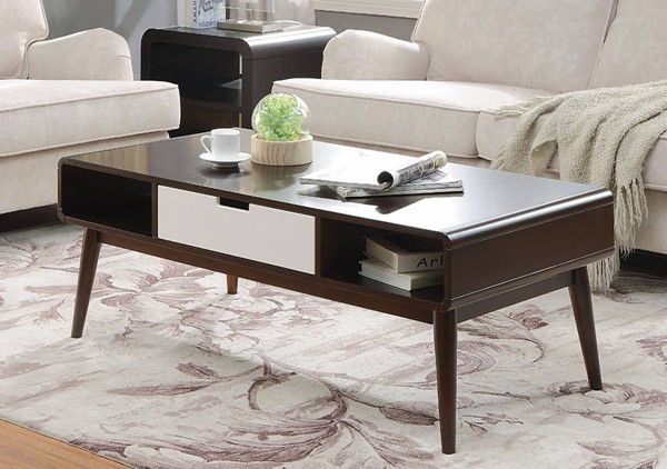 Homeroots Espresso White Solid Wood Coffee Table OCN-307939