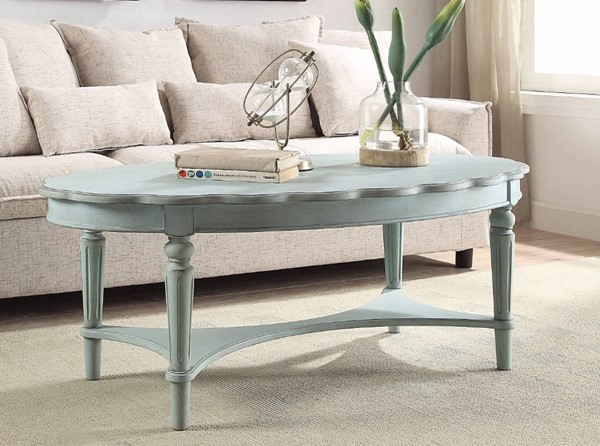 Homeroots Antique Green Solid Wood Coffee Table OCN-307942