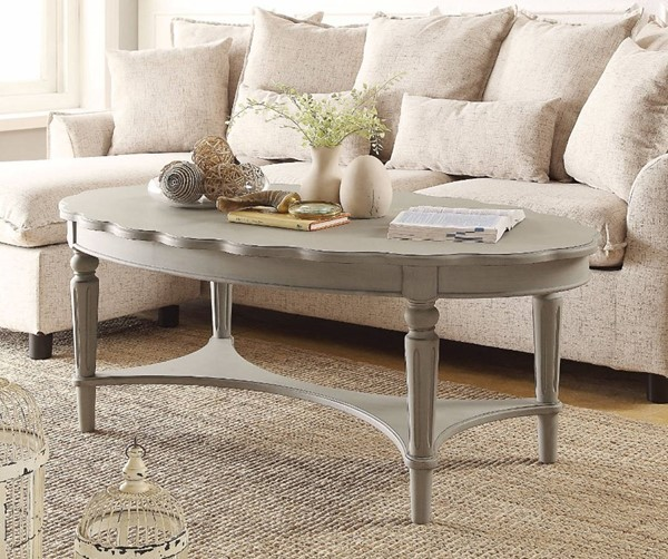Homeroots Antique Gray Solid Wood Coffee Table OCN-307943