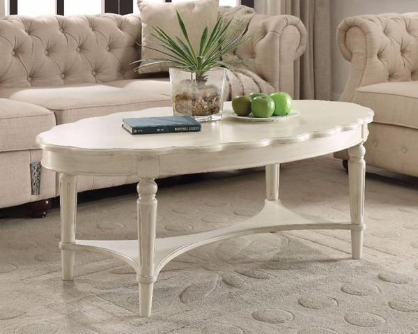 Homeroots Antique White Solid Wood Coffee Table OCN-307944